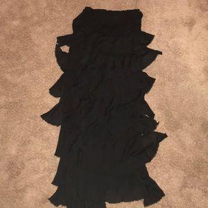 Black Maxi Skirt w/ Torn Ruffles